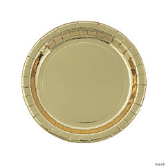 Metallic Gold Paper Dinner Plates - 8 Ct.