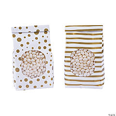 Metallic Gold Patterned Tin Tie Treat Bags with Window - 12 Pc.