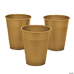 Metallic Gold Plastic Cups - 20 Ct.