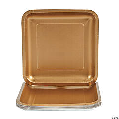 Metallic Gold Square Paper Dinner Plates - 18 Ct.