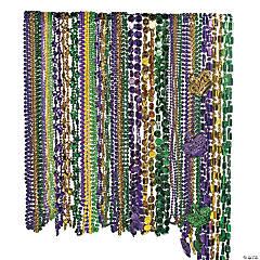 Metallic Mardi Gras Beaded Necklace Assortment