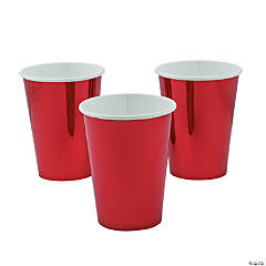 Metallic Red Paper Cups - 8 Ct.