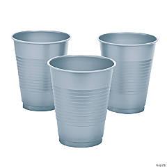 Metallic Silver Plastic Cups - 20 Ct.
