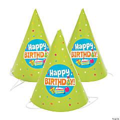 Mini Birthday Cone Party Hats - 12 Pc.