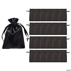 Mini Black Satin Drawstring Bags