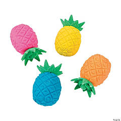 Mini Bright Pineapple Erasers - 24 Pc.