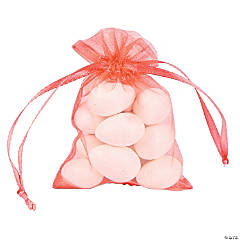 Mini Coral Organza Drawstring Treat Bags