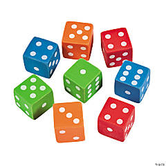 Mini Dice Erasers - 12 Pc.