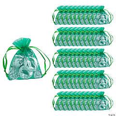 Mini Emerald Organza Drawstring Treat Bags