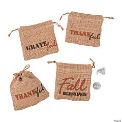 Mini Fall Harvest Burlap Drawstring Treat Bags