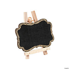 Mini Gold Glitter Trim Chalkboards with Easel