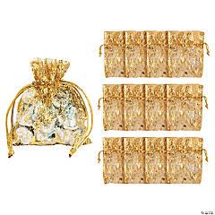 Mini Gold Metallic Organza Drawstring Bags