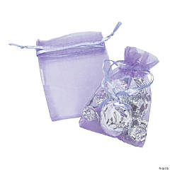 Mini Lilac Organza Drawstring Treat Bags