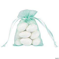 Mini Mint Green Organza Drawstring Bags