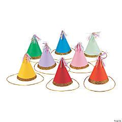 Mini Multicolor Cone Party Hats - 8 Pc.
