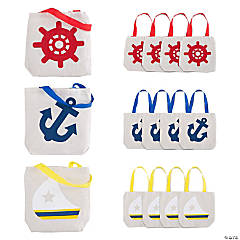 Mini Nautical Canvas Tote Bags