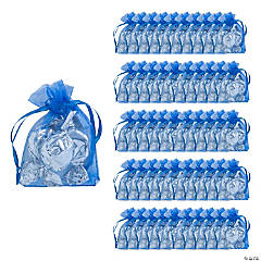 Mini Navy Blue Organza Drawstring Treat Bags