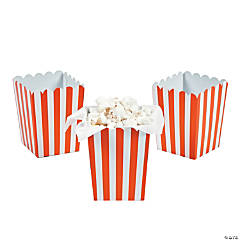 Mini Orange Striped Popcorn Boxes