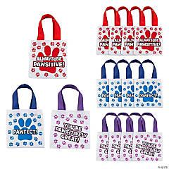 Mini Paw Print Motivational Tote Bags