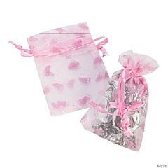 Mini Pink Girl Baby Shower Organza Drawstring Treat Bags