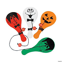 Mini Plastic Halloween Paddleball Games