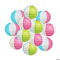 Mini Pool Party Beach Ball Hanging Paper Lanterns