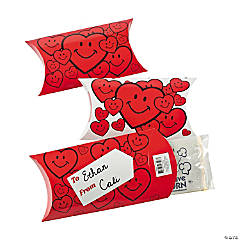 Mini Popcorn Bags in Cardboard Valentine Treat Boxes