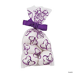 Mini Purple Two Hearts Cellophane Bags