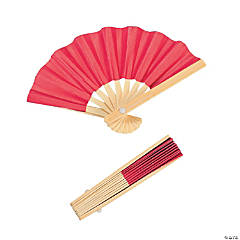 Mini Red Bamboo Favor Fans