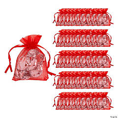 Mini Red Organza Drawstring Treat Bags