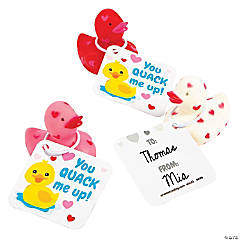 Mini Rubber Duckies with Valentine's Day Cards