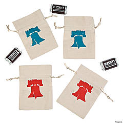 Mini Rustic Patriotic Canvas Drawstring Treat Bags