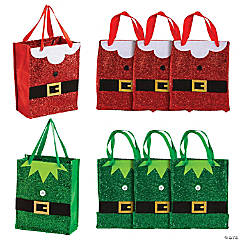 Mini Santa & Elf Glitter Tote Bags