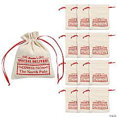 Mini Santa Canvas Drawstring Bags
