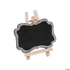 Mini Silver Glitter Trim Chalkboards with Easel