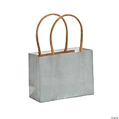 Mini Silver Kraft Paper Gift Bags