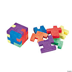 Mini Six-Sided Cube Puzzle Erasers - 12 Pc.
