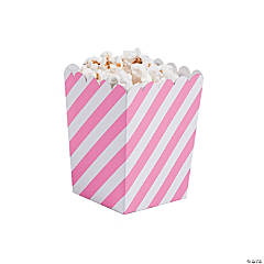 Mini Striped Candy Pink & White Popcorn Boxes
