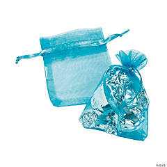 Mini Turquoise Organza Drawstring Treat Bags