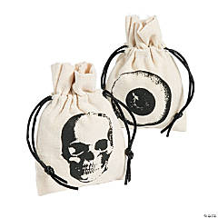 Mini Vintage Halloween Canvas Drawstring Treat Bags