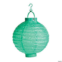 Mint Green Light-Up Hanging Paper Lanterns