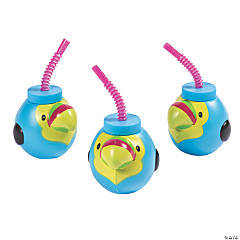 Molded Tropical Toucan Cups with Lids & Straws