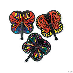 Monarch Butterfly-Shaped Folding Fans