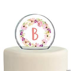 Monogrammed Garden Wedding Cake Topper