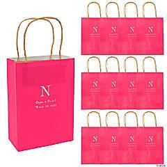 Monogrammed Hot Pink Roman Kraft Paper Gift Bags