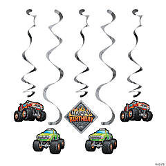 Monster Truck Party Hanging Swirl Decorations - 5 Pc.