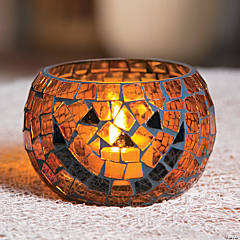 Mosaic Pumpkin Votive Candle Holder Halloween Decoration