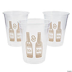 Mr. & Mrs. Beer Bottle Design Plastic Cups