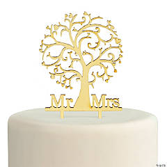 Mr. & Mrs. Family Tree Wooden Cake Topper