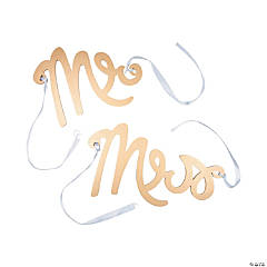 Mr. & Mrs. Gold Calligraphy Chair Signs